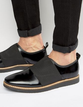 ASOS Shoes In Black Leather With Elastic Detail