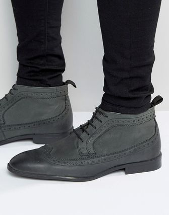 ASOS Brogue Chukka Boots in Grey Leather