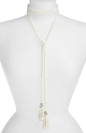 Faux Pearl Lariat Necklace