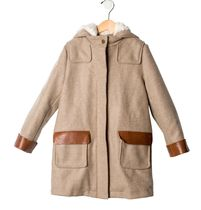 【 Chloe 】 Girl's Hooded Wool Coat ベージュ 8才 130-140cm