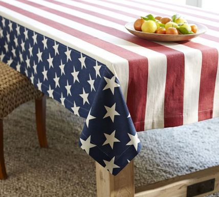 Pottery Barn antique American stars and stripes tablecloth