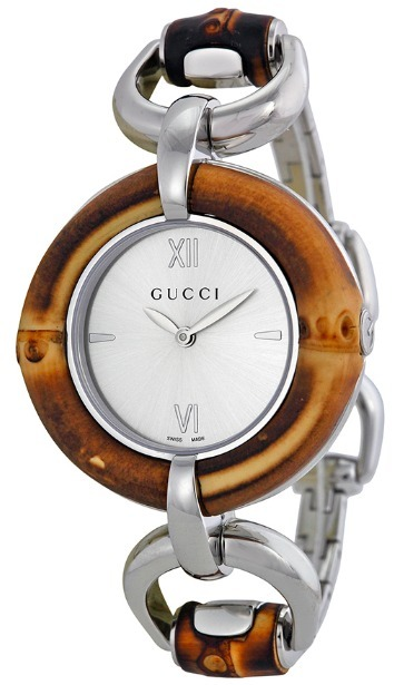 送料込み!GUCCI Silver Dial Bamboo and Stainless Steel Watch