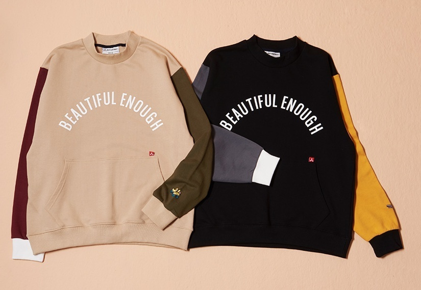 ★MOTIVE★COLOR BLOCK SWEAT SHIRT BEIGE/BLACK★2色
