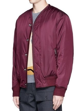 3.1 Phllip Lim Quilted MA-1 Jacket w/Leopard Lining Burgundy