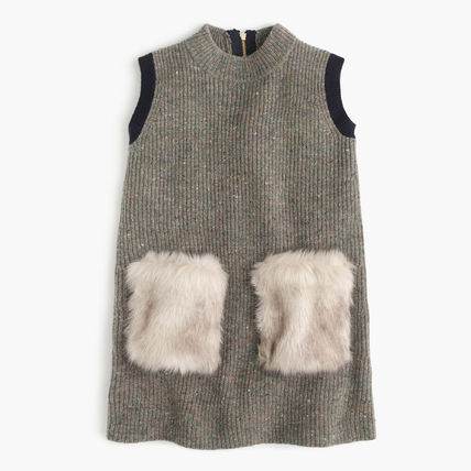 【国内発送】JCrew☆GIRLS' FAUX-FUR POCKET SWEATER-DRESS