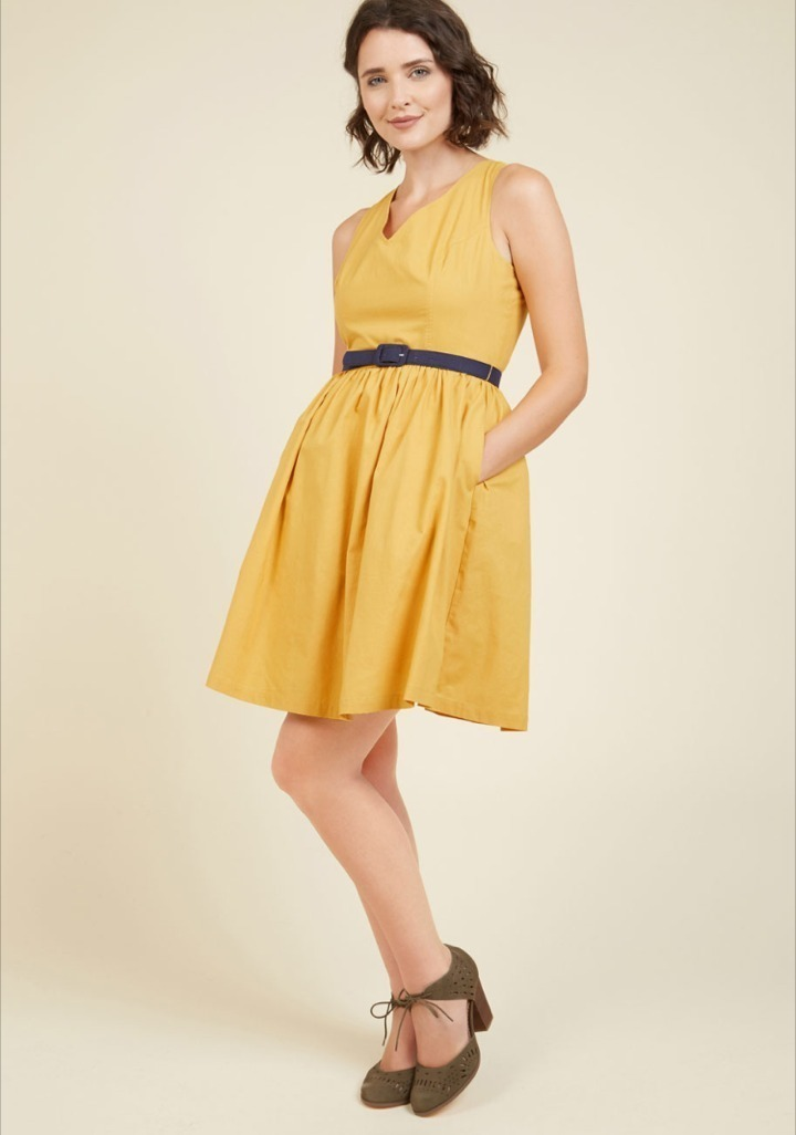 Modcloth★Zest of the Bunch Dress*ベルト付きワンピース