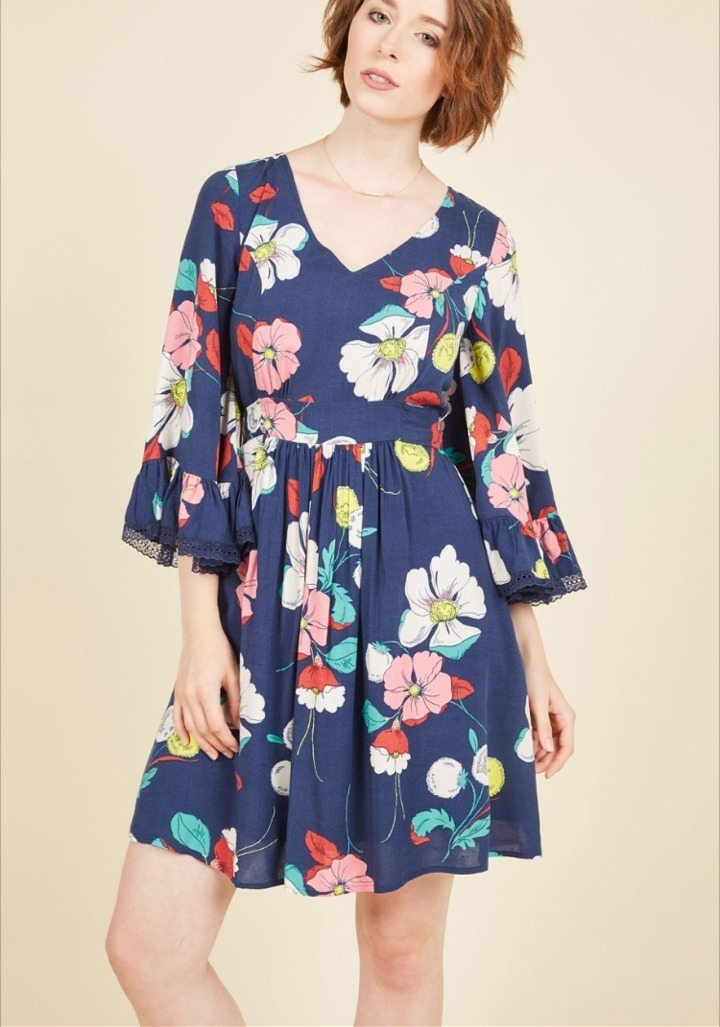 Modcloth★Through the Bluebells Dress*レトロ花柄ワンピ