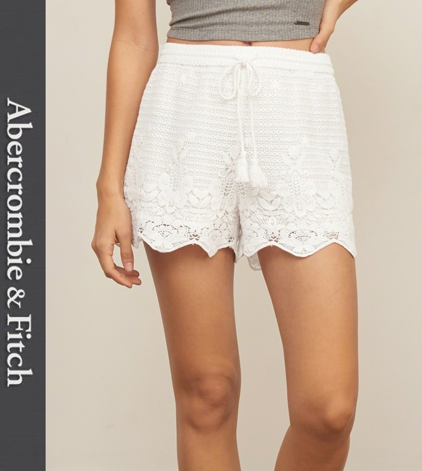 ★即発送★在庫あり★A&F★Crochet Lace Soft Shorts★