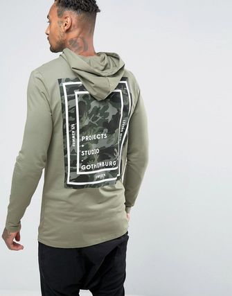 ASOS Muscle Longline Hoodie With Camo Back Print