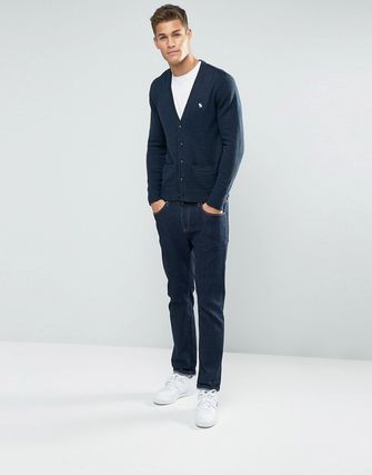 Abercrombie & Fitch Knit Cardigan Icon Logo In Navy