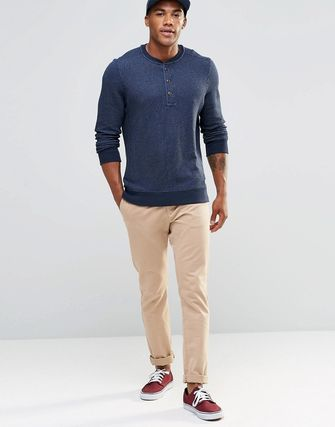 Abercrombie &Fitch Fleece Henley Navy Muscle Slim Fit