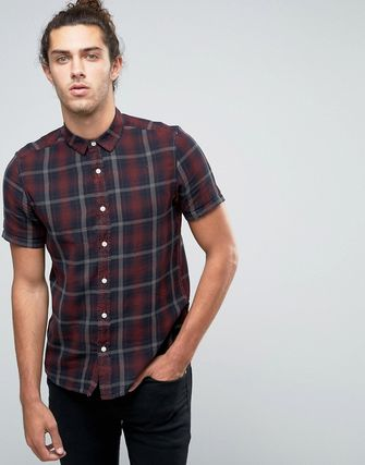 ASOS Check Shirt With Pigment Dye In Regular Fit