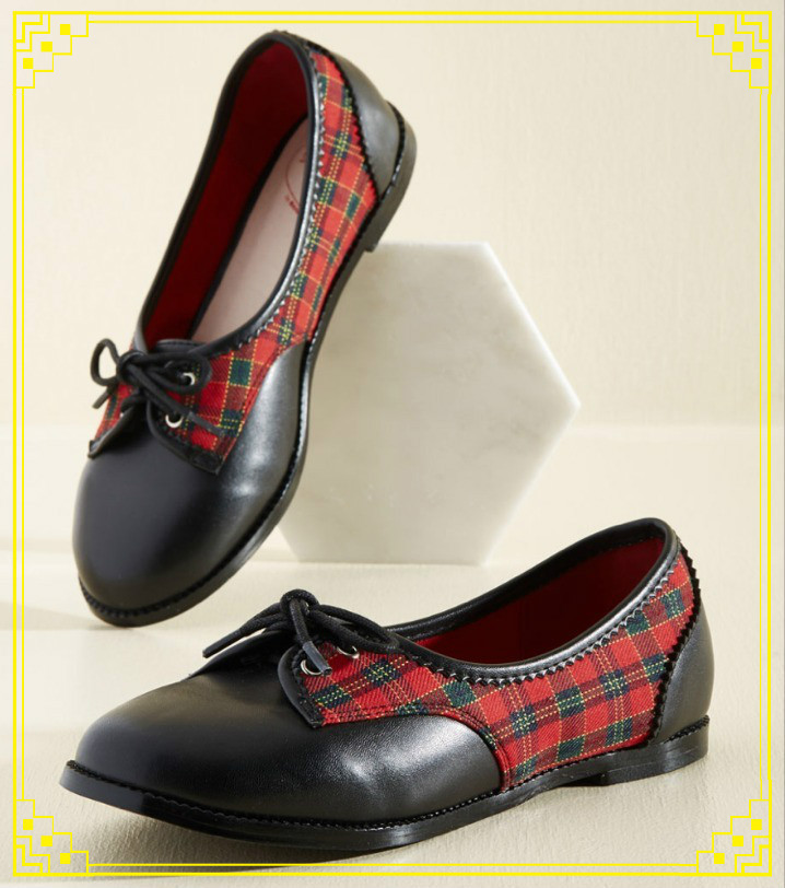 Modcloth★Hurry Up and Gait Flat*タータンチェックフラット