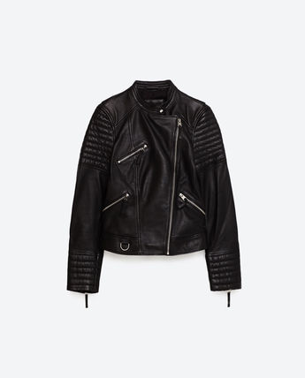 Leather cool ZARA zip with leather jacket