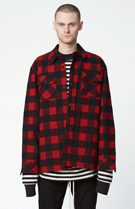 FW16 FOG FEAR OF GOD PLAID FLANNEL SHACKET RED S-XL 送料無料