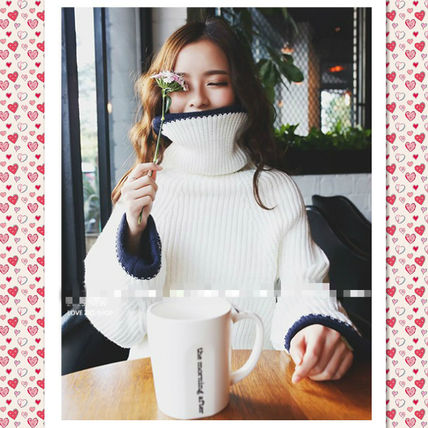 Oversize high neck sweater loose knit long sleeves