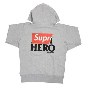 14SS Supreme ANTI HERO Zip-Up Sweatshirt グレー Grey bomber