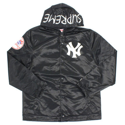 15SS 黒 Supreme NY Yankees Satin Hooded Coaches Jacket
