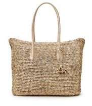 VOYAGE RAFFIA AND LEATHER LARGE BOX TOTE