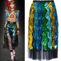 16-17AW WG176 LOOK18 SEQUINED TULLE MIDI SKIRT