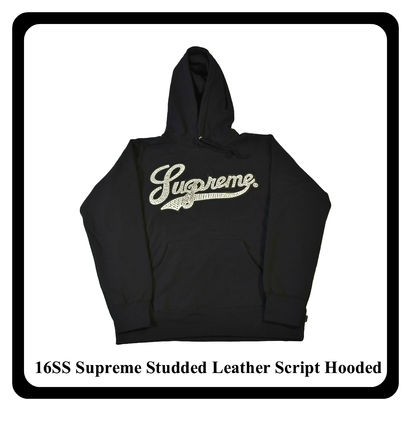 16SS Supreme Studded Leather Script Hooded Sweat ロス正規品