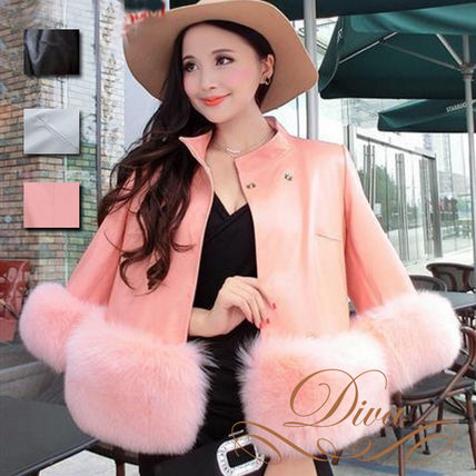 Fur with leather jacket Womens