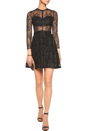 """ALEXIS"" Adal Satin trimmed lace dress"