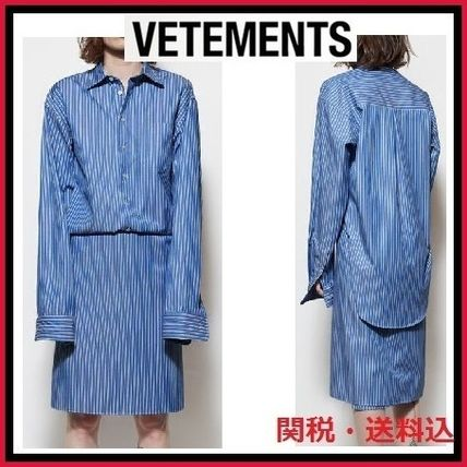 2016-17AW新作VETEMENTS2wayストライプシャツワンピース