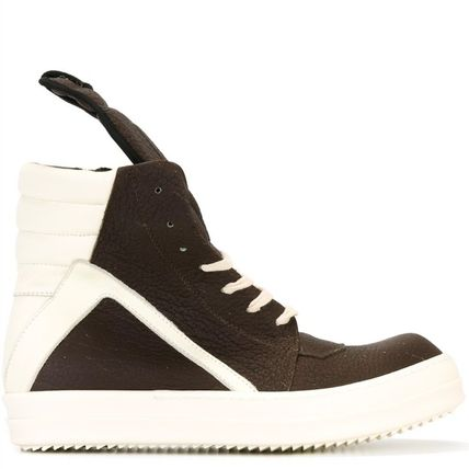 16-17AW RO103 GEOBASKET SNEAKERS IN CRACKED LEATHER
