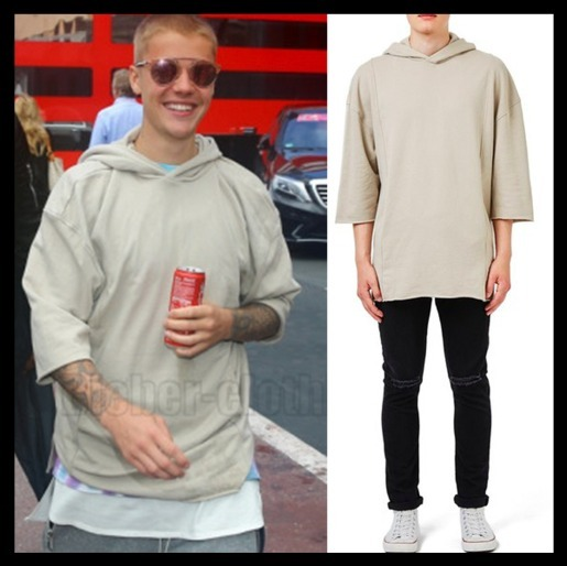 Justin Bieber着用!トップマン Three Quarter Sleeve Hoodie