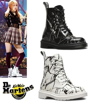 And Dr. Martens PASCAL MARBLE 8 EYE BOOTS