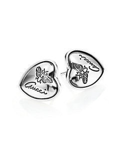 ★関税込み★Flora Heart Sterling Silver Stud Earrings GUCCI