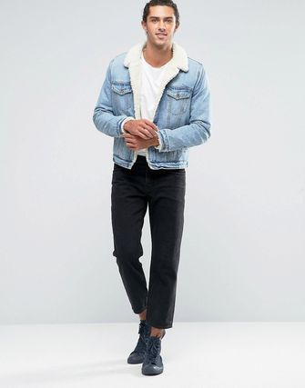 ASOS Fully Borg Lined Denim Jacket In Mid Wash
