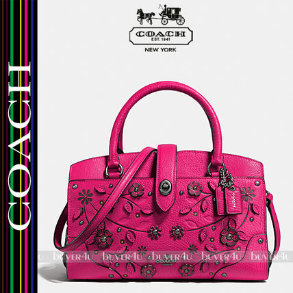 COACH★WILLOW FLORAL MERCER SATCHEL 24 GRAIN LEATHER 38375