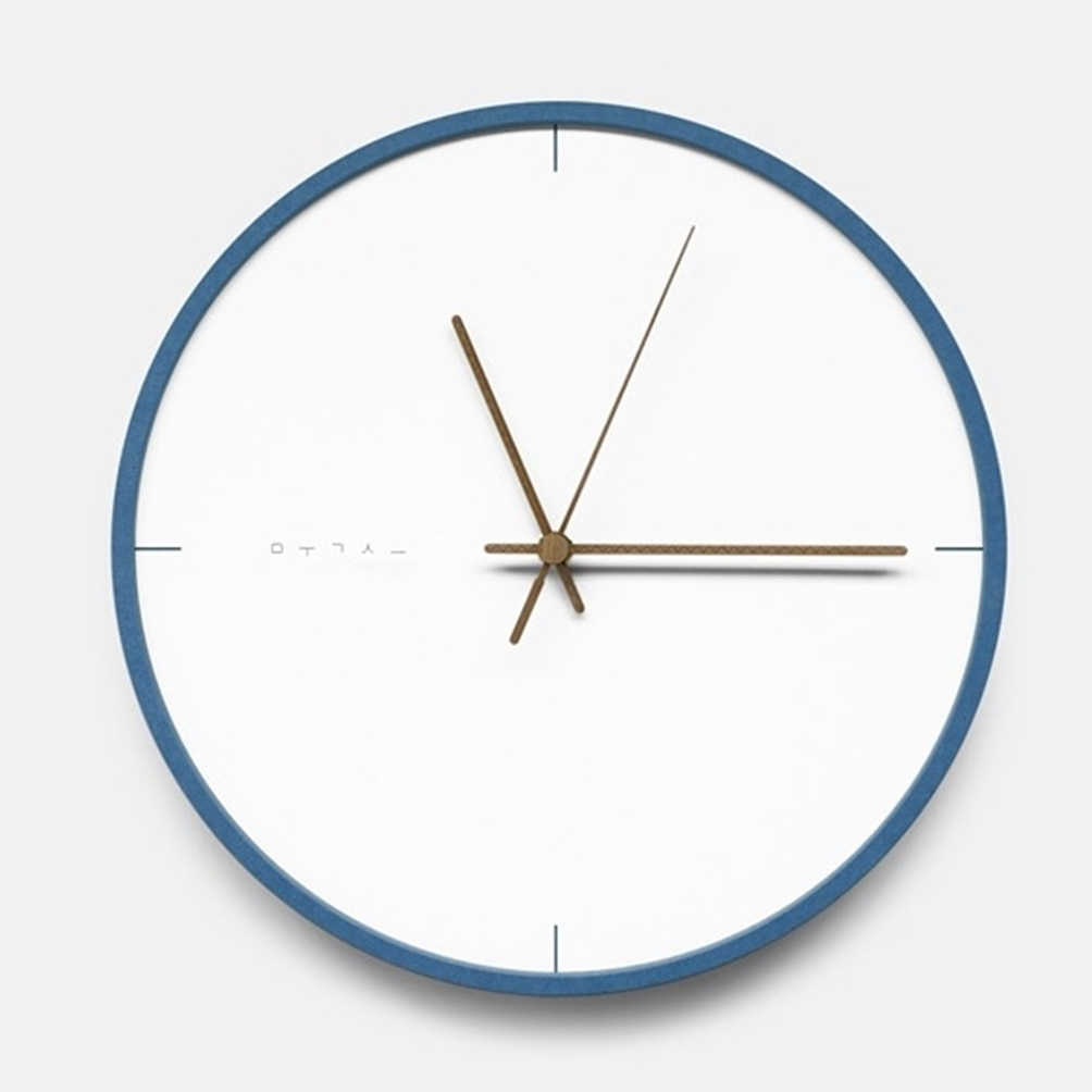 mooqs  Silent/No Ticking Wall Clock  simple blue line