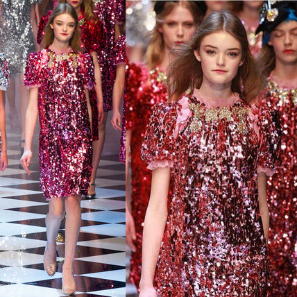 16-17AW DG739 LAST LOOK FLARED SEQUIN DRESS WITH JEWEL