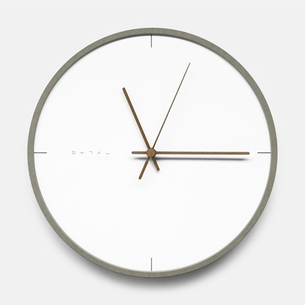 mooqs  Silent/No Ticking Wall Clock  simple grey line