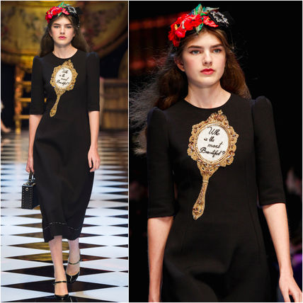16-17AW DG740 LOOK92 EMBELLISHED DOUBLE WOOL BLEND DRESS