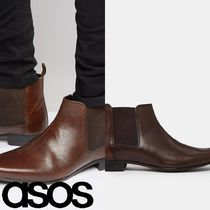 ASOS(エイソス) ブーツ 売切確実ASOS Chelsea Boots in Brown Leather With Back Pull