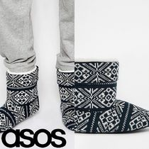 ASOS(エイソス) ブーツ 売切確実ASOS Slipper Boots in Navy Christmas Fairisle