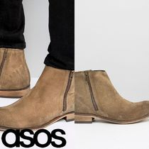 ASOS(エイソス) ブーツ 売切確実ASOS Chelsea Boots In Stone Suede With Double Zip