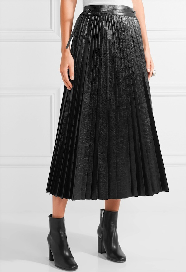 16-17AW V531 LOOK11 PLEATED LEATHER SKIRT WITH TIE