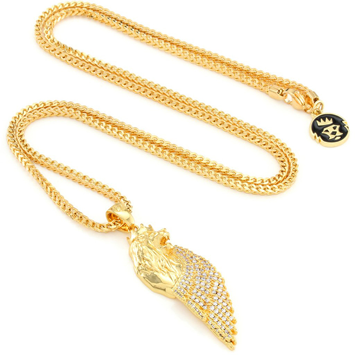 "Tyga愛用 ""King Ice"" 14K Gold Babylonian Lion ネックレス"