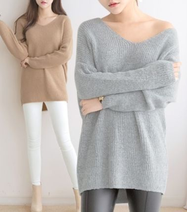So-called soft touch V neck mohair knit all