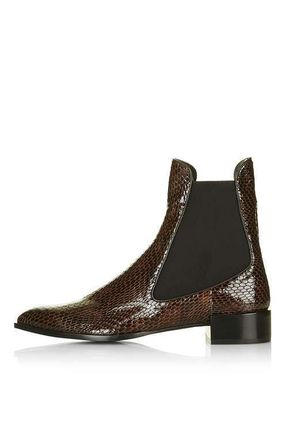 新作*TOPSHOP **BELVOIR Textured Chelsea Boots By Uniq送料込