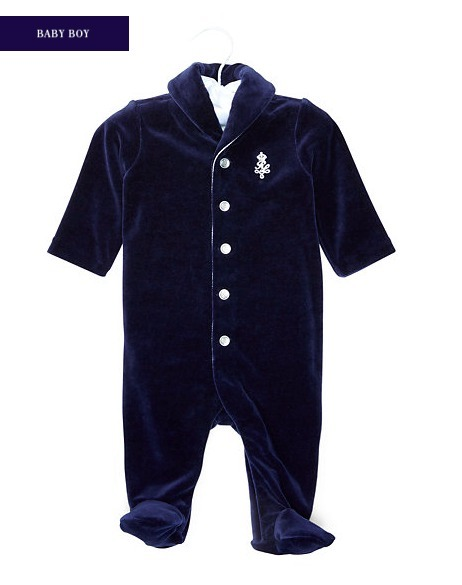 新作♪国内発送 2色 VELOUR FOOTED COVERALL boys 0~24M