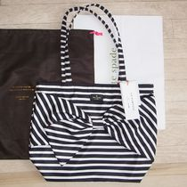 即発【kate spade】ON PURPOSE STRIPED NYLON TOTE リボン