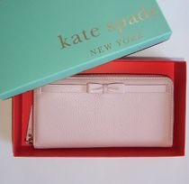 即発【kate spade】SUMMIT COURT BOW LACEY ピンク 長財布