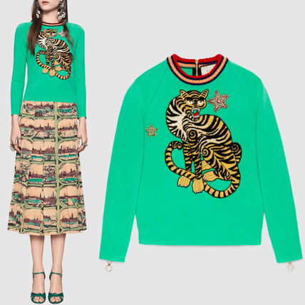 16-17AW WG189 TIGER EMBROIDERED SWEATER