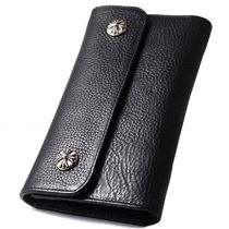 CHROME HEARTS/WAVE WALLET CROSS BOTANS BLACK HEAVY LEATHER